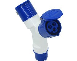 2-way industrial socket adapter blue