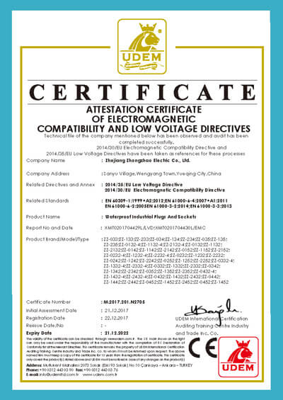 CE certificate for IP67 industrial plug