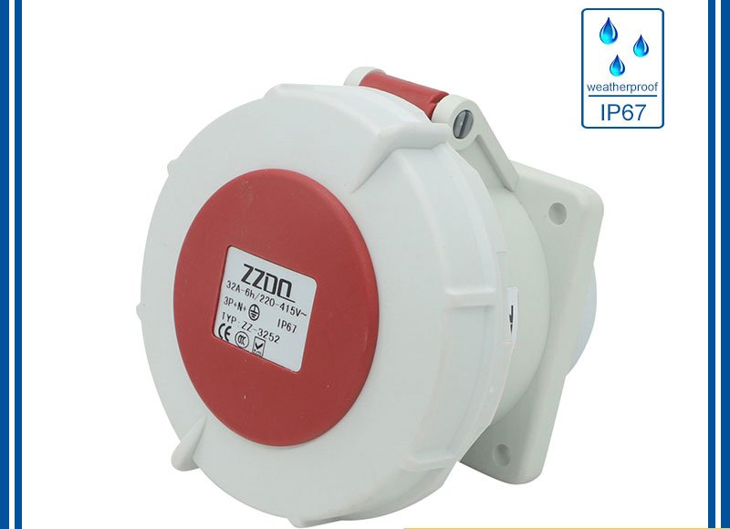 waterproof industrial socket has IP67 mark on the surface
