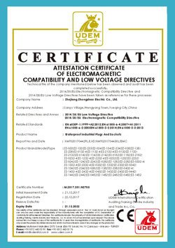 CE certificate for IP67 industrial socket and plug